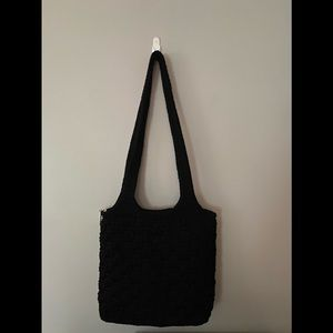 The Sak Crochet Purse Silvertone Accent Zip